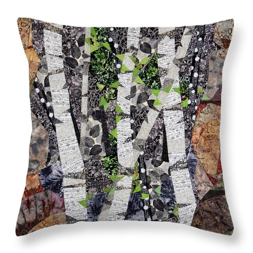 Trees Throw Pillow featuring the tapestry - textile Spring in the Mountains by Linda Beach