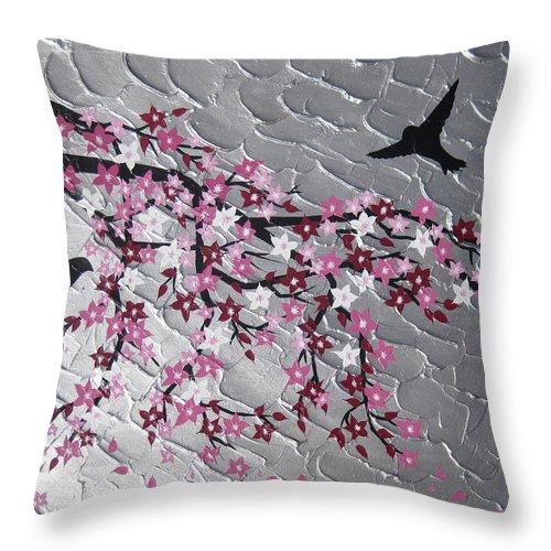 Birds Throw Pillow featuring the painting Spring Is Here by Cathy Jacobs