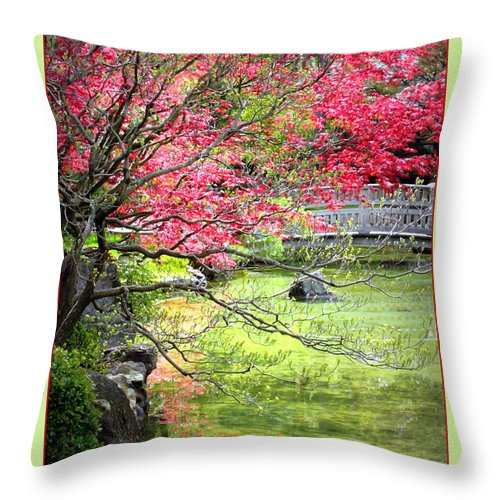 Japanese Garden Throw Pillow featuring the photograph Spring Is In The Air by Carol Groenen