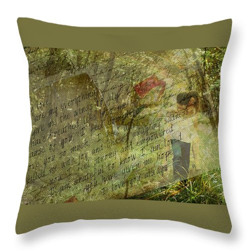 Love Throw Pillow featuring the digital art Spring Love Letter by Absinthe Art By Michelle LeAnn Scott