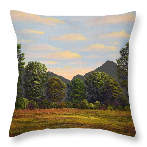 Spring Meadow At Sutter Buttes Throw Pillow featuring the painting Spring Meadow At Sutter Buttes by Frank Wilson
