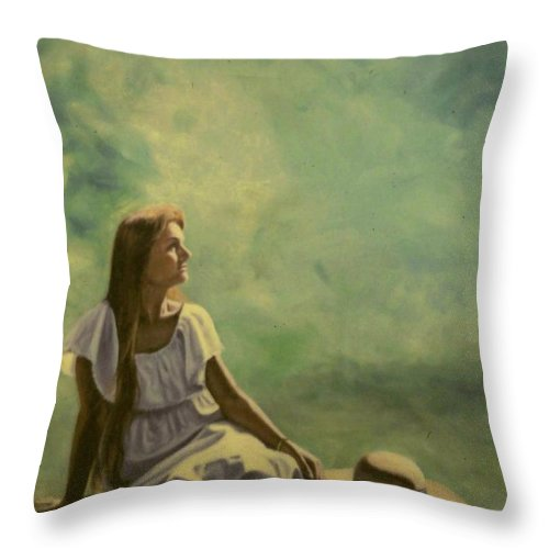 Figurative Throw Pillow featuring the painting Spring by Michael John Cavanagh