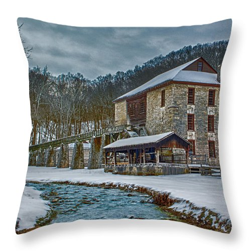 Gist Mill Throw Pillow featuring the photograph Spring Mill by Michael J Samuels