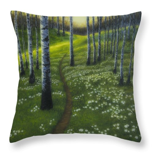 Art Throw Pillow featuring the painting Spring Path by Veikko Suikkanen