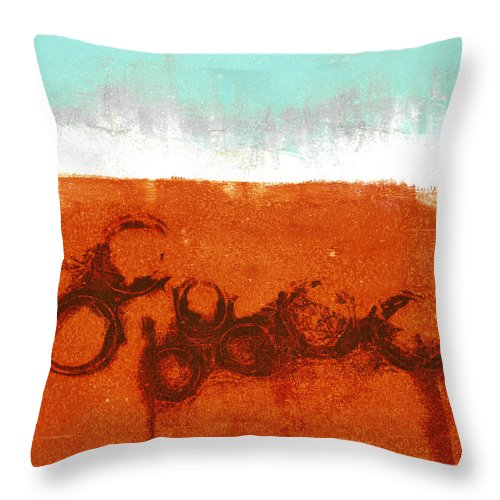Abstract Throw Pillow featuring the digital art Spring Rains by Carol Leigh