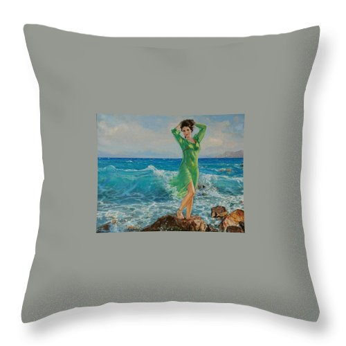 Seascape Throw Pillow featuring the painting Spring by Sefedin Stafa