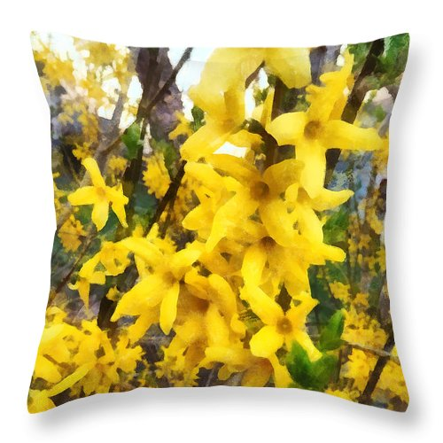 Forsythia Throw Pillow featuring the photograph Spring - Sprig Of Forsythia by Susan Savad