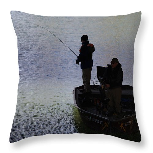 Fishing Throw Pillow featuring the photograph Spring Time Fishing by Greg Graham