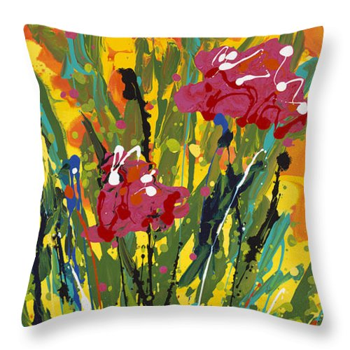 Spring Throw Pillow featuring the painting Spring Tulips Triptych Panel 3 by Nadine Rippelmeyer