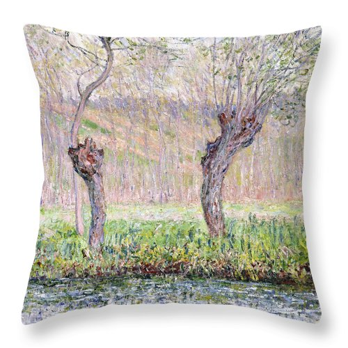 Monet Throw Pillow featuring the painting Spring Willows by Claude Monet