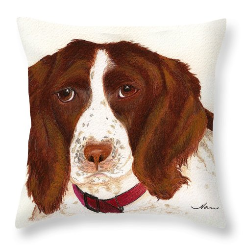 Animals Domestic Pets Canines Dogs english Springer Spaniels Brown hunting Dogs Throw Pillow featuring the painting Springer Spaniel by Nan Wright