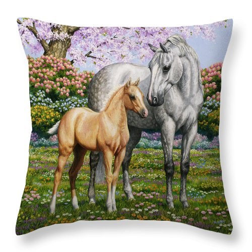 Horse Throw Pillow featuring the painting Spring's Gift - Mare And Foal by Crista Forest