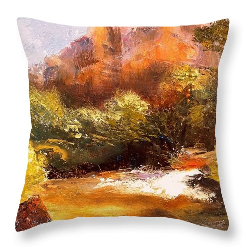 Landscape Throw Pillow featuring the painting Springs In The Desert by Gail Kirtz