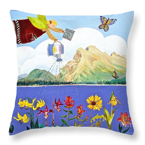 Mt Rundle Paintings Throw Pillow featuring the painting Springtime In The Rockies by Virginia Ann Hemingson