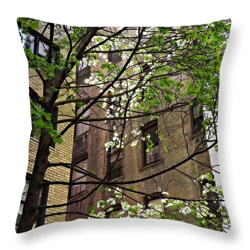 Building Throw Pillow featuring the photograph Springtime In Washington Heights 2 by Sarah Loft