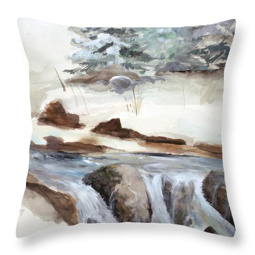 Rick Huotari Throw Pillow featuring the painting Springtime by Rick Huotari