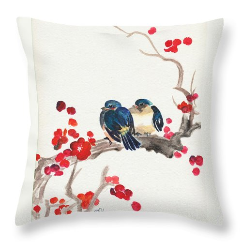 Japanese Art Throw Pillow featuring the painting Springtime Sweethearts by Dale Jackson