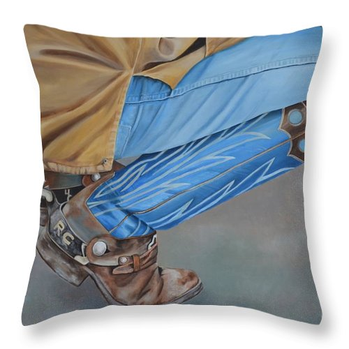 Art Throw Pillow featuring the painting Spur Squatting by Mary Rogers