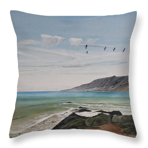Pelican Throw Pillow featuring the painting Squadron Of Pelicans Central Califonia by Ian Donley