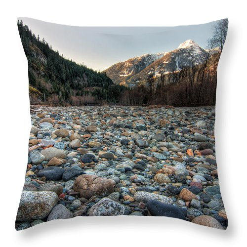Blue Throw Pillow featuring the photograph Squamish Stone View by James Wheeler