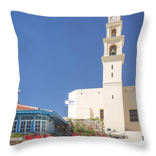Architecture Throw Pillow featuring the photograph Square In Jaffa Tel Aviv Israel by Jacek Malipan