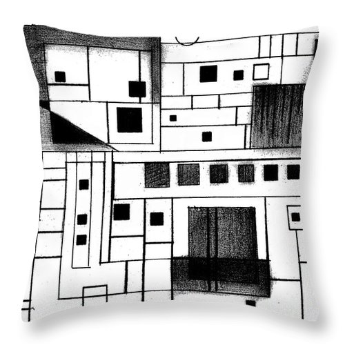 Square Throw Pillow featuring the drawing Square by Mary Bedy