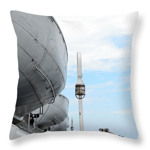 Boat Throw Pillow featuring the photograph S.s. Badger Lifeboats by Michelle Calkins