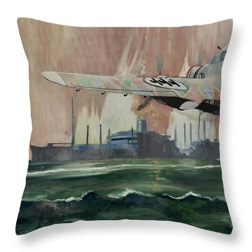 Ship Throw Pillow featuring the painting Ss Dorset by Ray Agius