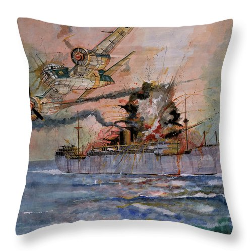 Wwii Throw Pillow featuring the painting Ss Waimarama by Ray Agius