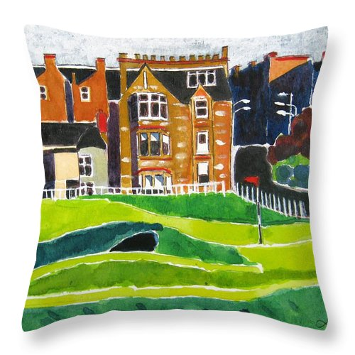 St Andrews Throw Pillow featuring the painting St Andrews 17 by Lesley Giles