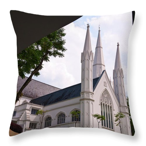 Singapore Throw Pillow featuring the photograph St. Andrews Cathedral by Rick Piper Photography