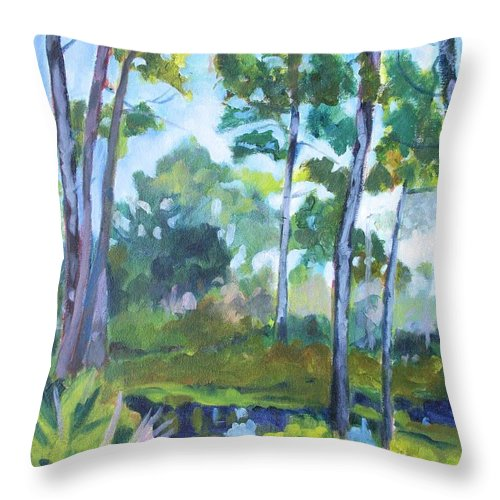 Florida Throw Pillow featuring the painting St. Andrew's Park by Jan Bennicoff