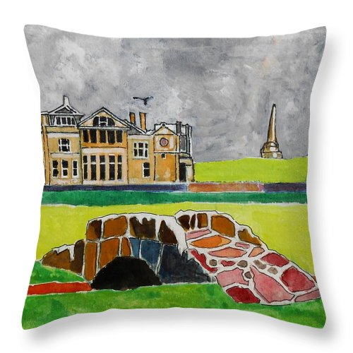 St Andrews Throw Pillow featuring the painting St Andrews Swilcan Bridge by Lesley Giles