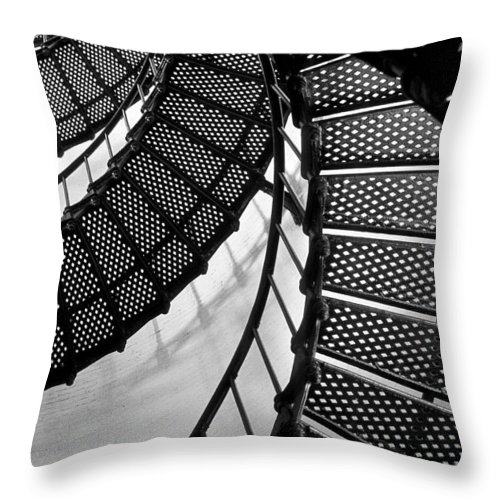 Lighthouse Throw Pillow featuring the photograph St. Augustine Lighthouse Steps by Sharon M Connolly