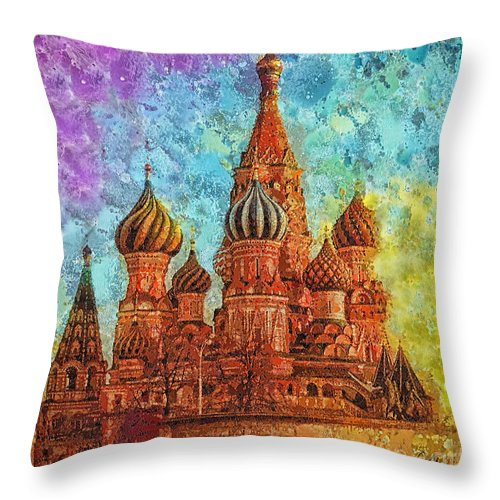 St Basil Throw Pillow featuring the painting St Basil by Mo T