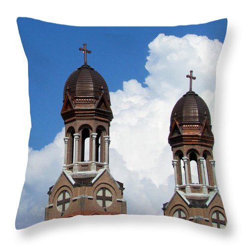 Cathedral Throw Pillow featuring the photograph St Francis Xavier Cathedral Spires by David T Wilkinson