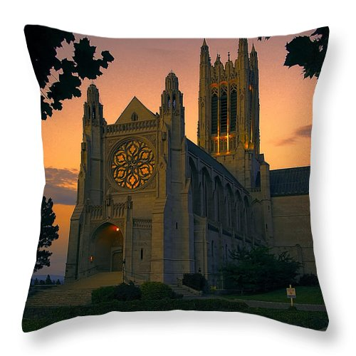 st Johns Throw Pillow featuring the photograph St Johns Cathedral - Spokane by Daniel Hagerman