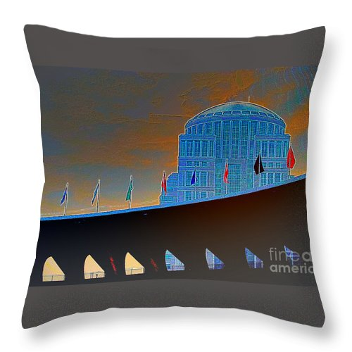 The Judicial Learning Center Throw Pillow featuring the photograph St. Louis Art #2 by Alan Look