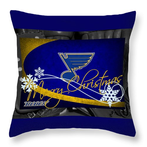 Blues Throw Pillow featuring the photograph St Louis Blues Christmas by Joe Hamilton