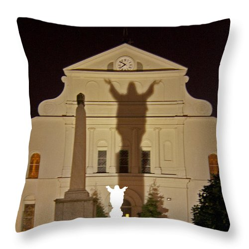 St. Louis Cathedral Throw Pillow featuring the photograph St. Louis Cathedral  #4202 by J L Woody Wooden