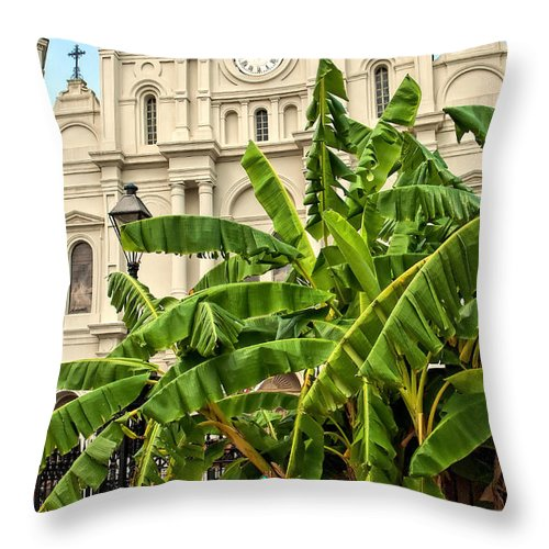 Banana Trees Throw Pillow featuring the photograph St. Louis Cathedral And Banana Trees New Orleans by Kathleen K Parker