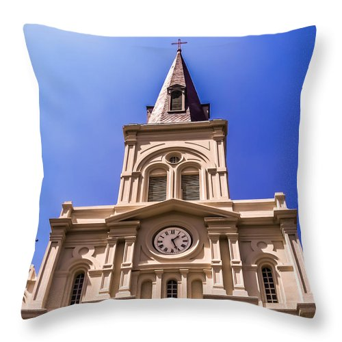 Scenes Throw Pillow featuring the photograph St. Louis Cathedral by Renee Barnes