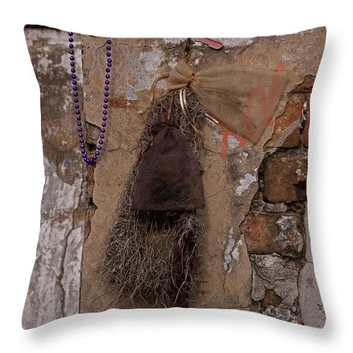 Tomb Throw Pillow featuring the photograph St. Louis Voodoo Tomb  #5680 by J L Woody Wooden