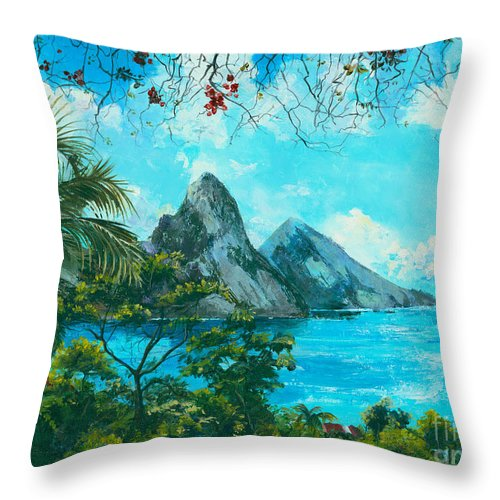 Mountains Throw Pillow featuring the painting St. Lucia - W. Indies by Elisabeta Hermann
