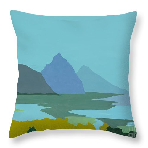 Canvas Prints Throw Pillow featuring the painting St. Lucia - W. Indies II by Elisabeta Hermann