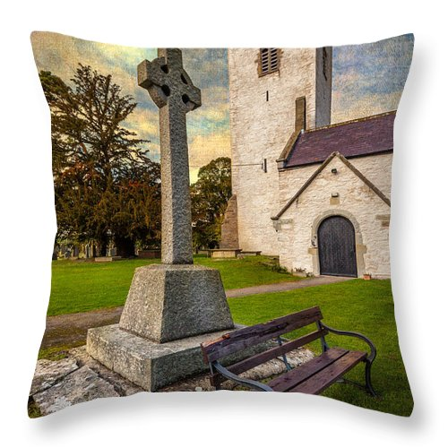 British Throw Pillow featuring the photograph St. Marcellas Celtic Cross by Adrian Evans