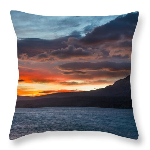 St. Mary Lake Throw Pillow featuring the photograph St. Mary Lake Dawn 1 by Greg Nyquist