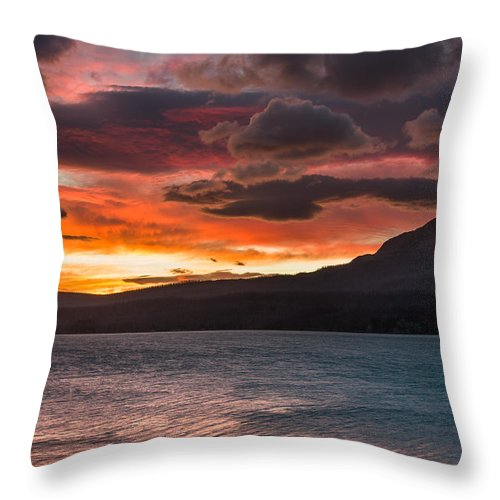 St. Mary Lake Throw Pillow featuring the photograph St. Mary Lake Dawn 2 by Greg Nyquist