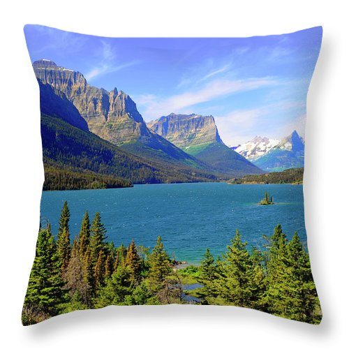 Scenics Throw Pillow featuring the photograph St. Mary Lake, Glacier National Park by Dennis Macdonald