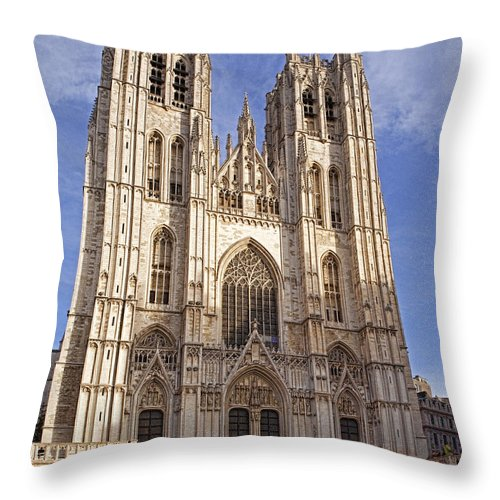 Cathedral Throw Pillow featuring the photograph St Michael And St Gudula Cathedral by Stephen Barrie